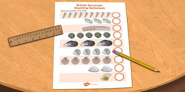 British Seashell Counting Worksheet - british, seashell, counting