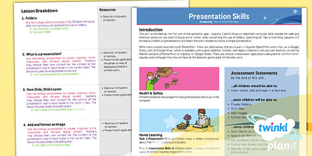 PowerPoint Presentation Skills: Planning Overview - Year 2 Computing Lesson Pack
