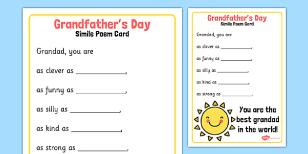 Grandfather's Day Simile Poem Card - grandfathers day, simile, poem