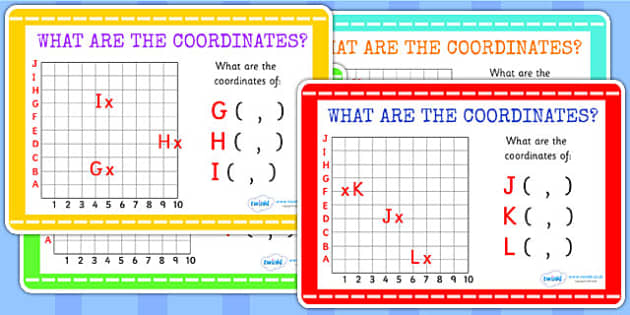 What Are the Coordinates Maths Challenge Cards - coordinates
