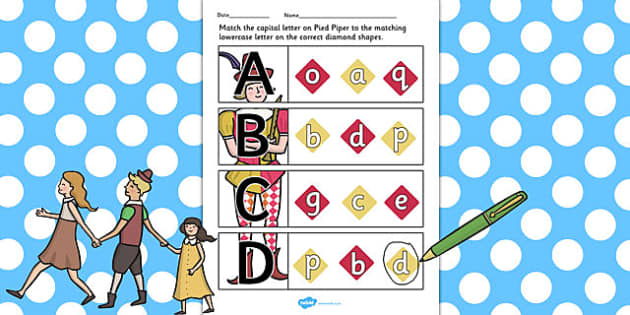 The Pied Piper Themed Capital Letter Matching Worksheet - letter