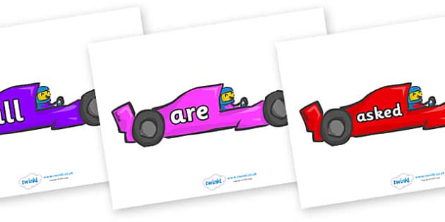 Tricky Words on Racing Cars - Tricky words, DfES Letters and Sounds, Letters and sounds, display, words