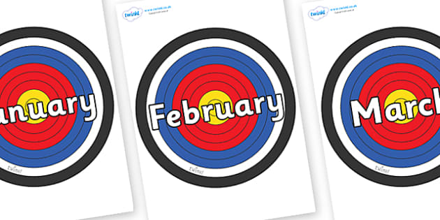 Months of the Year on Plain Targets - Months of the Year, Months poster, Months display, display, poster, frieze, Months, month, January, February, March, April, May, June, July, August, September