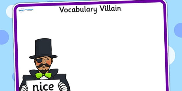 Editable Vocabulary Villain Nice Word Mat - word mat, editable word mat, emotions, vocabulary mat, editable vocabulary mat, mat of word, nice word mat