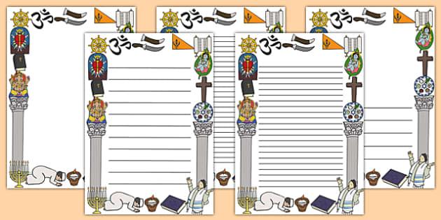 Religion Page Borders - religion page borders, religion, religious, Christian, Hinduism, page border, border, writing template, writing aid, writing