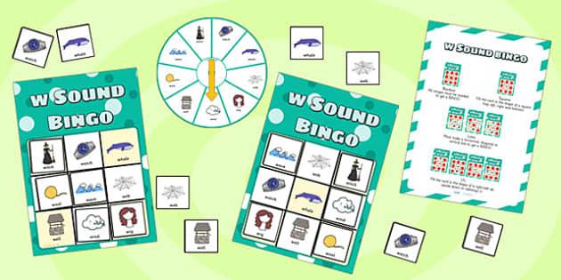 w Sound Bingo Game with Spinner - w, sound, sounds, bingo, game