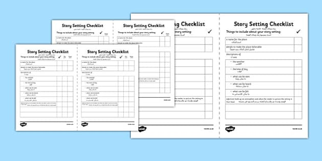 Story Setting Checklist Arabic Translation - arabic, story, setting, checklist, story setting