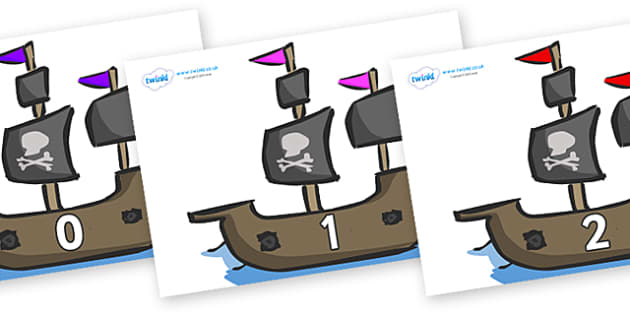Numbers 0-31 on Pirate Ships - 0-31, foundation stage numeracy, Number recognition, Number flashcards, counting, number frieze, Display numbers, number posters