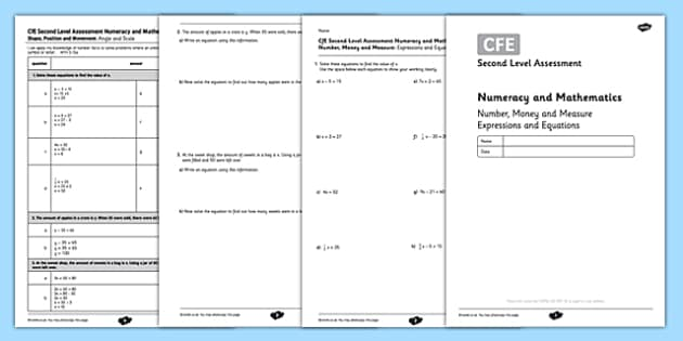 CfE Second Level Assessment Numeracy and Mathematics - Number, Money and Measure - Expressions and Equations - CfE, assessment, numeracy, equations