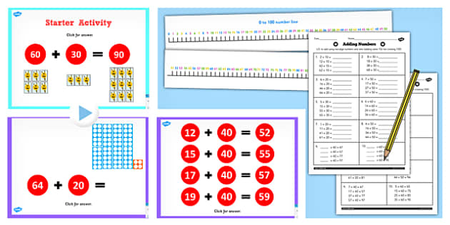 Year 2 Adding 2 Digit Numbers and Tens to Same 10s Not Crossing