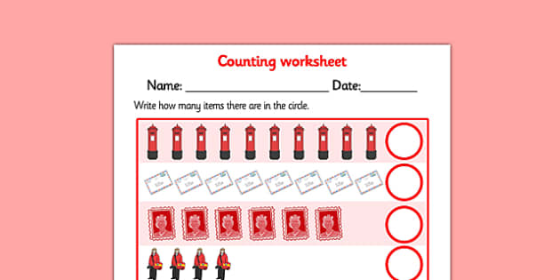 My Counting Worksheet (Post Office) - counting sheet, role play
