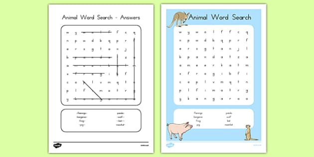 Animal Word Search - usa, america, animal, wordsearch, word search