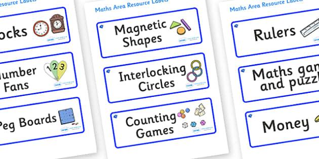 Sapphire Blue Themed Editable Maths Area Resource Labels - Themed maths resource labels, maths area resources, Label template, Resource Label, Name Labels, Editable Labels, Drawer Labels, KS1 Labels, Foundation Labels, Foundation Stage Labels, Teachi