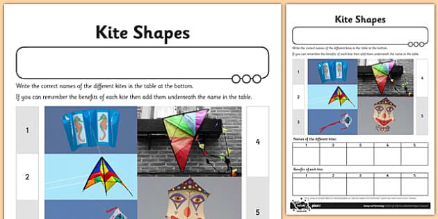 Let's Go Fly a Kite Activity Sheet Kite Shapes - fly, kite, shapes, worksheet