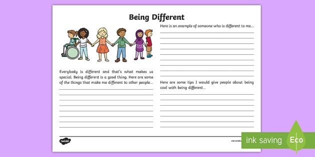 Being Different Reflection Writing Template - reflection, writing template, being different, individual, characteristics, S.P.H.E.