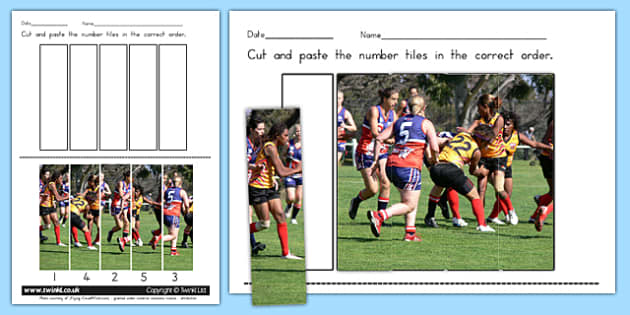 AFL Australian Football League Photo Number Sequencing Puzzle