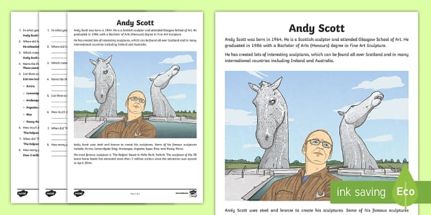 CfE Andy Scott Fact File - Scottish Landmarks, Andy Scott, CfE, art and design, sculpture, sculptor, factfile, questions, The K