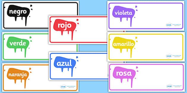 Etiquetas de perchero - los colores - identificación, percha, cajón, nombre