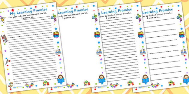 My Learning Promise Worksheet - teaching aid, template, writing