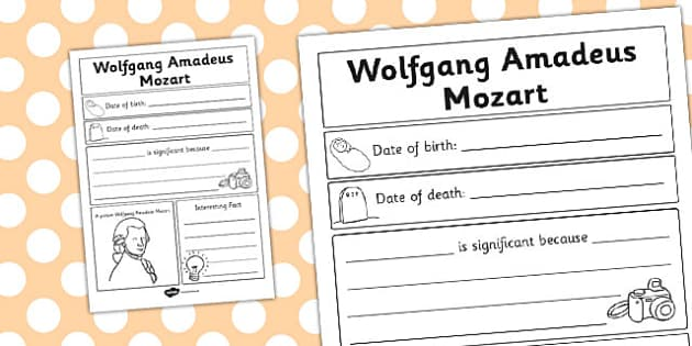 Wolfgang Amadeus Mozart Significant Individual Writing Frame