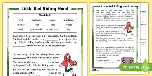 Little Red Riding Hood Traditional Tale Cloze Procedure Differentiated Activity Sheet Pack, worksheet