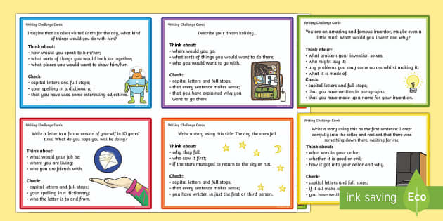 Writing Challenge Cards - writing, challenge cards, challenge