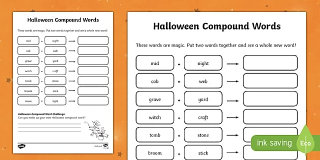 Halloween Compound Word Activity Sheet, worksheet