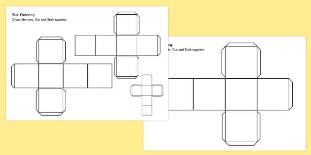 Cube Size Ordering Nets - 3d, shape, cube, shape net, size, net, order