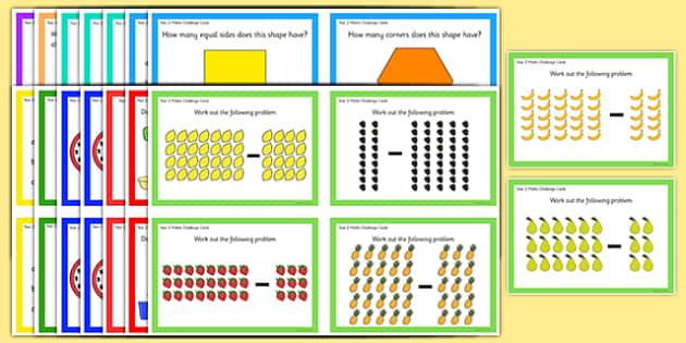 Year 2 Maths Challenge Cards Pack - year 2, maths, challenge cards, challenge, cards, pack