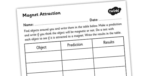 Worksheets Fraction Attraction Worksheet magnet attraction worksheet magnets magnetic objects magnetic