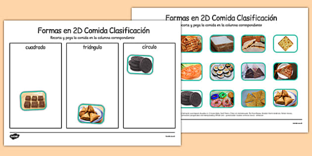 Formas en 2D Food Sorting Spanish - spanish, food, 2d shape, sorting, activity