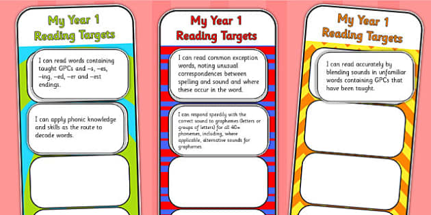 2014 Curriculum Year 1 English Reading Assessment Bookmarks Cutout