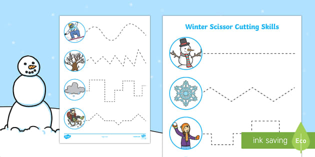 Winter Themed Cutting Skills Activity Sheets