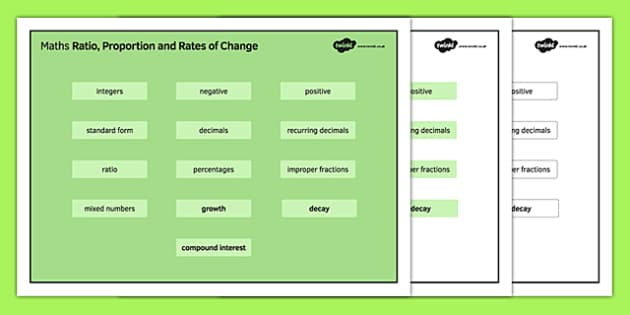 KS4 Maths Word Mat Ratio, Proportion and Rates of Change - KS3, KS4, GCSE, Maths, keywords, vocabulary, revision, ratio, proportion, fractions, percentages
