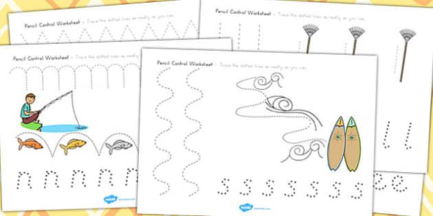 Spring Pencil Control Worksheets - fine motor skills, seasons