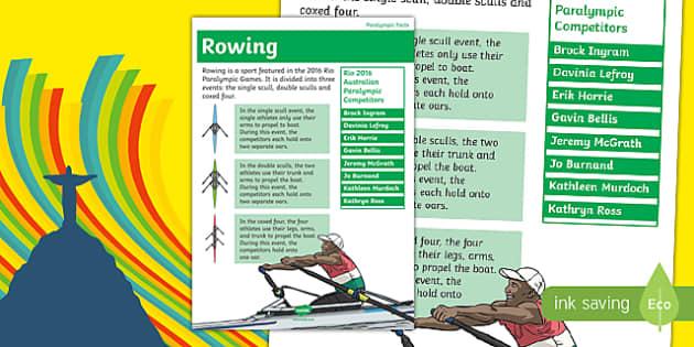 Australia Rio Paralympics 2016 Rowing Display Poster