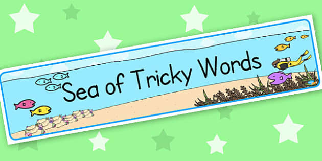 Sea of tricky words - display lettering - Tricky Words Primary Resources, Letters, sounds, phonics. keywords