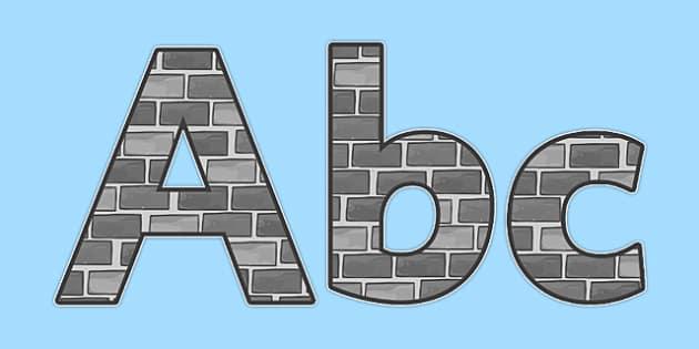 Castles & Knights Display Lettering & Symbols (Bricks) - Display lettering, Castles, Knights, display letters, alphabet display, letters to cut out, letters for displays, coloured letters, coloured display, coloured alphabet