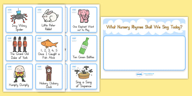 Nursery Rhyme Choosing Cards - rhyme, poem, visual aid, cards