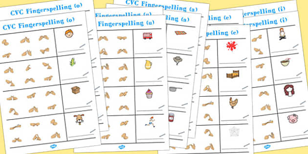 CVC Spelling Worksheets with British Sign Language Pack - CVC