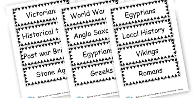 History Resource Labels - General History Primary Resources,History,Primary,Resources
