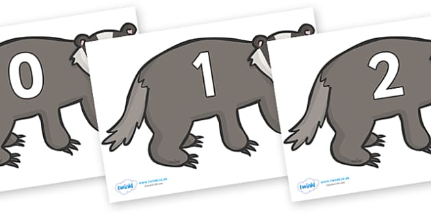 Numbers 0-31 on Badgers - 0-31, foundation stage numeracy, Number recognition, Number flashcards, counting, number frieze, Display numbers, number posters