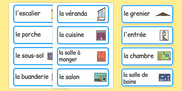 Parts of a House Word Cards French - french, parts of a house, word cards, word, cards, parts, house