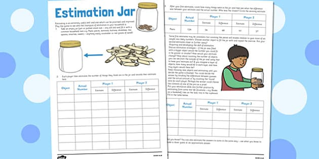 Estimation Jar - estimation jar, home education, estimation, jar, worksheet