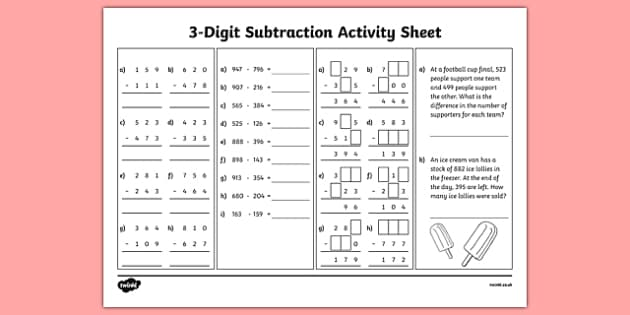 3-Digit Number Subtraction Activity Sheet, worksheet