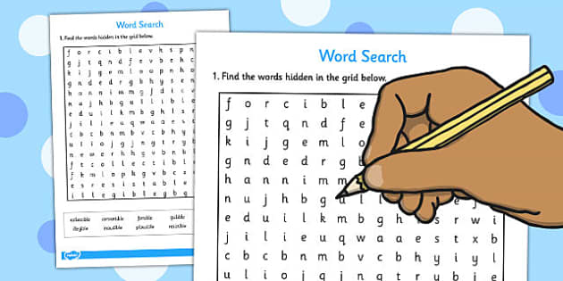 Words Ending in 'ible' Word Search - wordsearches, literacy, words