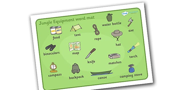 Jungle Equipment Word Mat - jungle, equipment, mat, word mat, writing aid, binoculars, food, water bottle, compass, map, tent, knife, axe
