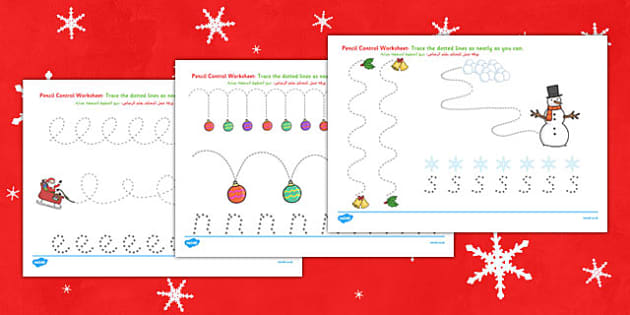 Christmas Pencil Control Worksheets Arabic Translation - arabic, christmas, pencil control, worksheets