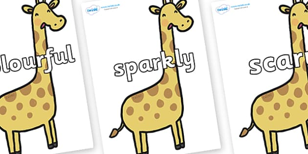 Wow Words on Giraffes - Wow words, adjectives, VCOP, describing, Wow, display, poster, wow display, tasty, scary, ugly, beautiful, colourful sharp, bouncy