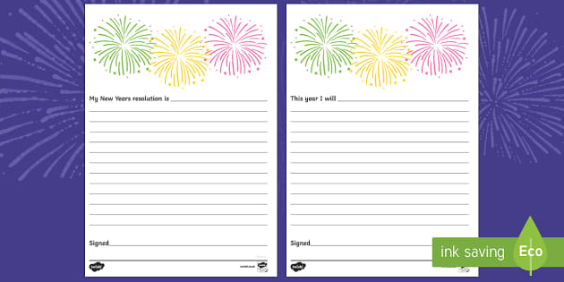 New Year's Resolution Pledge Writing Template